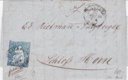 Suisse 1855 : No 23 C Sur Lettre Oblitéré St.Gallen, Fil De Soie Rouge, Très Bien Margé - Timbre Et Document Signés WEID - 1854-1862 Helvetia (Non-dentelés)