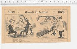 2 Scans 1898 Humour Poisson Morue Cannibalisme Joueurs De Cartes Jeu Mise D'argent  216PF10XT - Vieux Papiers
