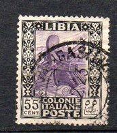 1921 Libia Pittorica N. 29 Timbrato Used Sassone 35 Euro - Libye