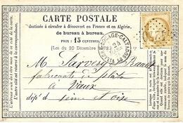 1875- C P Précurseur  De VILLERS-BOCAGE-CALVADOS  ( Calvados ) Cad T16 Affr. N°55 Oblit. G C 4270 - Storia Postale
