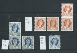 Rhodesia & Nyasaland 1954 QEII 1/2d & 1d Coil Stamps & Perf Varieties M , MNH & FU - Rhodesia & Nyasaland (1954-1963)