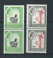 Rhodesia & Nyasaland 1963 QEII 1/2d & 1d Coil Stamps MNH Pairs - Rhodesia & Nyasaland (1954-1963)