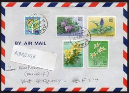 Japan 1985  MiNr. 1592, 1596/ 1597, 1617/ 1618  Brief/ Letter ; Bergpflanzen I. , III. - Pflanzen Und Botanik