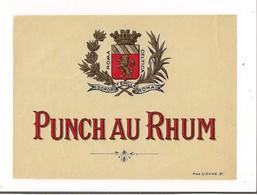 Etiquette  Punch Au Rhum -  Imprimeur Max Sidaine, Bordeaux - Blason, Couronne Et Lauriers - - Rhum