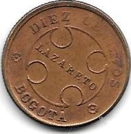 *Colombia Bogota Lepra  Coinage 10 Centavo 1901 B Km L3  Vf+ Look !!!!!! Rare !!!! - Colombia