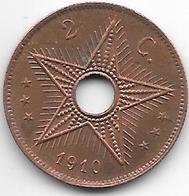 *congo 2 Centimes 1910  Km16 Xf+!!!! - Congo (Belgian) & Ruanda-Urundi