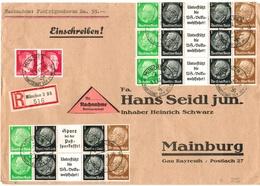 Dt. Reich Zusammendruck - Streifen + Paar 827 MiF Auf R- Nachnahme- Großbrief V. München 1943 - Se-Tenant