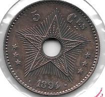 *congo 5 Centimes 1894  Km23 Xf+!!!! - Congo (Belgian) & Ruanda-Urundi