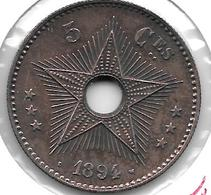 *congo 5 Centimes 1894  Km23 Xf+!!!! - 1885-1909: Leopold II