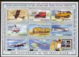 63671 (postal, Transport, Space, Railways)Guyana 1992 Anniversaries Opt In Black (Albertville Olympics) On Sheetlet Of 9 - Space