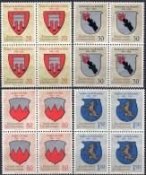 Wappen I 1964 Liechtenstein 440/3+4-Block ** 14€ Graf Vaduz Brandis Sulz Bloques Hb Blocs Waps Sheets Bf Fürstentum - Liechtenstein