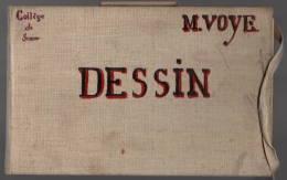 Semur En Auxois: Cahier De Dessin Collège De Semur Début XXe, 18 Pages Avec Dessin.23x15, CartonnéTB état - Vieux Papiers