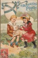JOYEUSES PAQUES       ENFANTS ET L AGNEAU - Pasqua