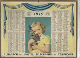 Calendrier  G-F  De  1955  -Manque Page Du Departement Au Dos - Big : 1941-60