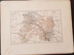 CARTE GEOGRAPHIQUE ANCIENNE: FRANCE: MARNE (51) (Garantie Authentique. Epoque 19 ème Siècle) - Carte Geographique