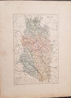 CARTE GEOGRAPHIQUE ANCIENNE: FRANCE: MEUSE (55) (Garantie Authentique. Epoque 19 ème Siècle) - Carte Geographique