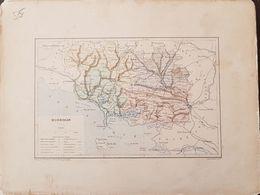 CARTE GEOGRAPHIQUE ANCIENNE: FRANCE: MORBIHAN (56) (Garantie Authentique. Epoque 19 ème Siècle) - Carte Geographique