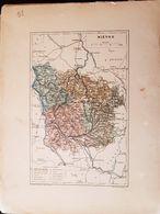 CARTE GEOGRAPHIQUE ANCIENNE: FRANCE: NIEVRE (58) (Garantie Authentique. Epoque 19 ème Siècle) - Carte Geographique