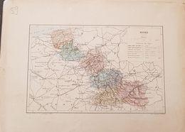 CARTE GEOGRAPHIQUE ANCIENNE: FRANCE: NORD (59) (Garantie Authentique. Epoque 19 ème Siècle) - Carte Geographique