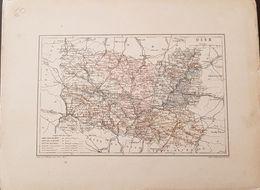 CARTE GEOGRAPHIQUE ANCIENNE: FRANCE: OISE (60) (Garantie Authentique. Epoque 19 ème Siècle) - Carte Geographique
