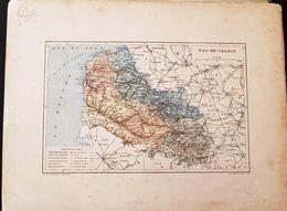 CARTE GEOGRAPHIQUE ANCIENNE: FRANCE: PAS DE CALAIS (62) (Garantie Authentique. Epoque 19 ème Siècle) - Carte Geographique