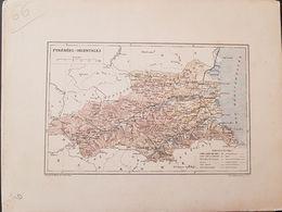 CARTE GEOGRAPHIQUE ANCIENNE: FRANCE: PYRENEES ORIENTALES (66) (Garantie Authentique. Epoque 19 ème Siècle) - Carte Geographique