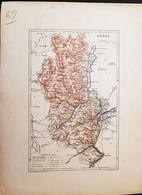CARTE GEOGRAPHIQUE ANCIENNE: FRANCE: RHONE (69) (Garantie Authentique. Epoque 19 ème Siècle) - Carte Geographique