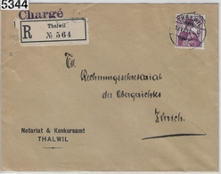 1914 Helvetia 122/116 Charge Thalwil 19.VI.14 To Zürich - Suisse