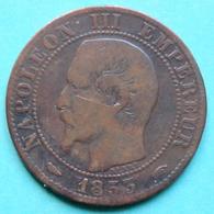 France - Pièce De Monnaie 5 Centimes Napoléon 1853 A - France