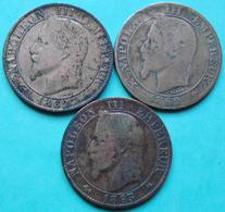 France - 5 Centimes Napoléon 1862 A - 1862 BB - 1863 A Lot 3 Pièces De Monnaie - France