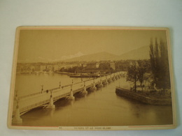 Photo (Kabinet?) Suisse // Geneve Et Mont Blanc // Panorama Ca 1898 Ca 15 X 9.5 CM - Oud (voor 1900)