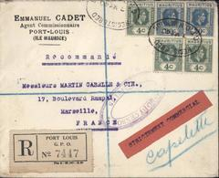 Recommandé Commercial Passed By Censor Mauritius YT 203 X3 207 X2 CAD Registered 7 MY 40 GPO Mauritius World War II - Mauritius (...-1967)