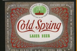 Cold Spring Lager Beer, Minnesota (U.S.A.), Beer Label From 60`s. - Bier
