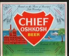 Chief Oshkosh Beer, Oshkosh, Wisconsin (U.S.A.), Beer Label From 60`s. - Beer