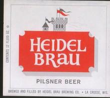Heidel Brau Pilsner Beer,  La Crosse, Wisconsin (U.S.A.), Beer Label From 60`s. - Beer