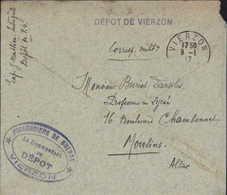 Enveloppe Interprète Dépôt PG De Vierzon FM Cachet Prisonniers De Guerre Vierzon Commandant Du Dépôt Et Dépôt De Vierzon - WW I