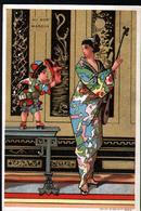 Chromo Au Bon Marche, VM14, Tueme Japon, Geisha Avec Petit Enfant, Geisha Con Putto - Au Bon Marché