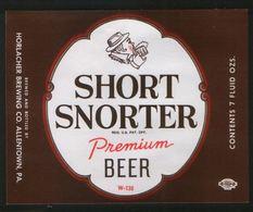 Short Snorter Premium Beer, Allentown, Pensilvania (U.S.A.), Beer Label From 60`s. - Bier