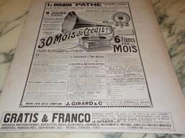 ANCIENNE PUBLICITE GRAND PHONOGRAPHE DE PATHE 1908 - Posters