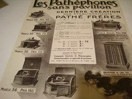 ANCIENNE PUBLICITLES PATHEPHONE SANS PAVILLION 1912 - Other