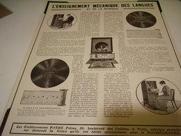 ANCIENNE PUBLICITLES ENSEIGNEMENT DES LANGUES AVEC PATHE FRERE 1913 - Other