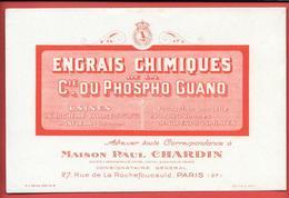 Buvard Ancien ENGRAIS CHIMIQUES Cie PHOSPHO GUANO -usines LA ROCHELLE -HONFLEUR-Mon P. CHARDIN Paris VAUTOUR,COURONNE - Agriculture