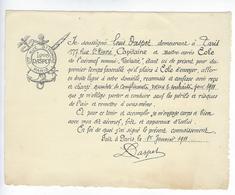 Vieux Papiers Ex Libris 1911 Louis Daspet 1911 Capitaine Aéronef Fantaisie 177 Rue Saint Honoré Paris - Ex Libris