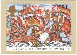 Isle Of Wight - 25 July 1588 - The Armada  (18p Stamp) - First Day Of Issue 19 Jul 1988, Salisbury - (U.K.) - Postzegels (afbeeldingen)