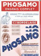 """4 Buvards Anciens  ENGRAIS COMPLET """"PHOSAMO"""" Cie BORDELAISE - BORDEAUX -  Illustrations  (2 Différents) - Farm"""