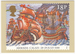 Calais - 28-29 July 1588 - The Armada  (18p Stamp) - First Day Of Issue 19 Jul 1988, Salisbury - (U.K.) - Postzegels (afbeeldingen)