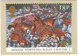 North Sea - 30 July - 2 Aug 1588 - The Armada  (18p Stamp) - First Day Of Issue 19 Jul 1988, Salisbury - (U.K.) - Postzegels (afbeeldingen)