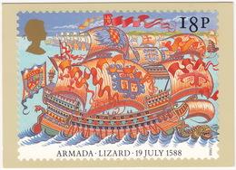 Lizard - 19 July 1588 - The Armada  (18p Stamp) - First Day Of Issue 19 Jul 1988, Salisbury - (U.K.) - Postzegels (afbeeldingen)