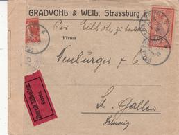 Env PAR EXPRES Affr Y&T 138 + 119 Obl STRASBOURG 4 Du 3.3.19 Adressée à St Gallen Avec Censure Postale Militaire - Postmark Collection (Covers)