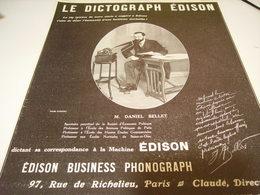 ANCIENNE PUBLICITE LE DICTOGRAPH DE  EDISON 1912 - Other